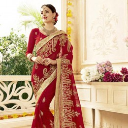 Red Saree with Heavy Floral Embroidery