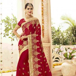 Red and Gold Charming Wedding Wear Saree