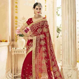 Georgette Embroidered Wedding Saree in Red