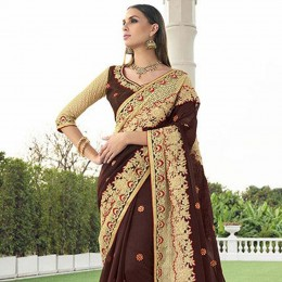 Brown Colored Embroidered Faux Georgette Net Wedding Saree