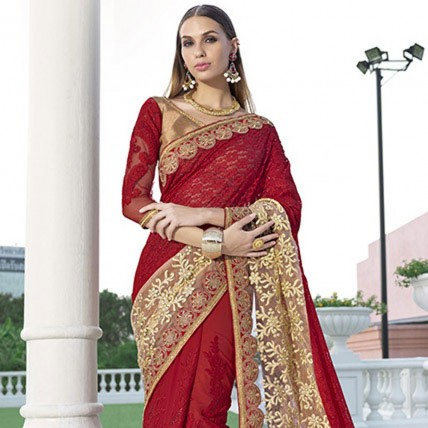 Red Georgette Net Traditional Embroidered Saree