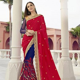 Blue Colored Embroidered Faux Georgette Partywear Saree