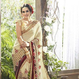 Off White Embroidered Faux Georgette Partywear Saree