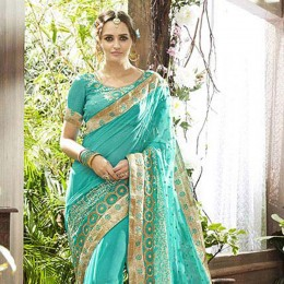Embroidered Skyblue Faux Georgette Partywear Saree