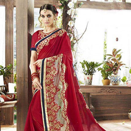 Red Embroidered Georgette Satin Partywear Saree
