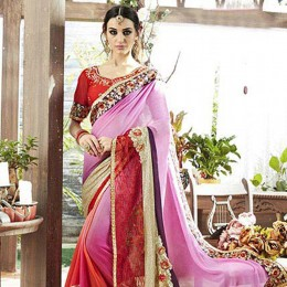 Pink Border Faux Georgette Partywear Saree
