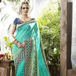 Skyblue Embroidered Faux Georgette Saree