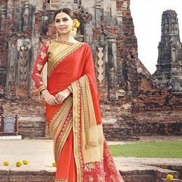 Orange Colored Border Worked Faux Georgette Partywear Saree
