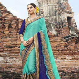 Skyblue Colored Embroidered Faux Georgette Partywear Saree