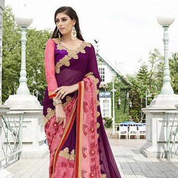 Purple Colored Embroidered Faux Georgette Partywear Saree