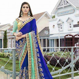 Embroidered Blue Faux Georgette Partywear Saree