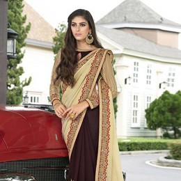 Brown Colored Embroidered Faux Georgette Partywear Saree