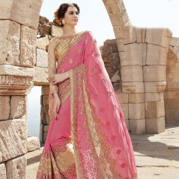 Pink and Beige Embroidered Festive Wear Saree