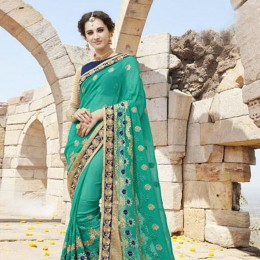 Green and Blue Contrast Embroidered Saree