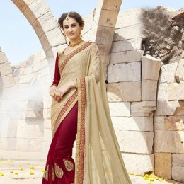 Maroon and Beige Embroidered Saree