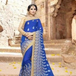 Blue and Gold Embroidered Saree for Festivals