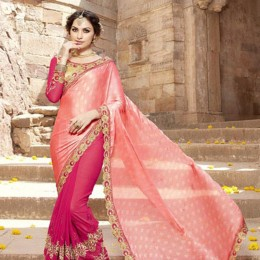 Pink Georgette and Satin Embroidered Saree