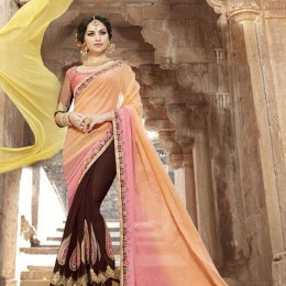 Brown Embroidered Saree with Art Silk Peach Blouse