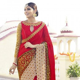 Red Embroidered Net Georgette Festive Saree