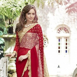 Red Embroidered Chiffon Partywear Saree
