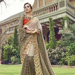 Off White Chiffon Net Traditional Embroidered Partywear Saree