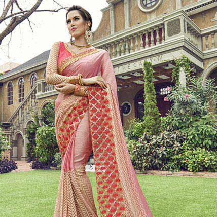 Pink Chiffon Net Traditional Embroidered Partywear Saree