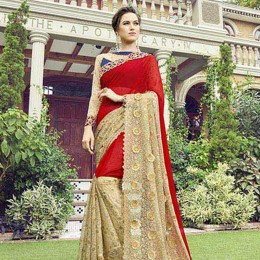 Beige Faux Georgette Traditional Partywear Saree