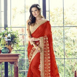 Golden Embroidered Red Saree