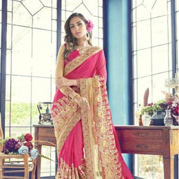 Appealing Pink Wedding Embroidered Saree