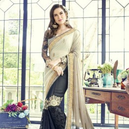 Black and Grey Contrasting Party Wearing Embroidered Saree