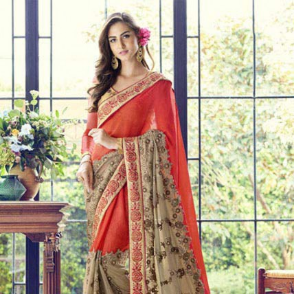 Red and Golden Embroidered Saree in Georgette