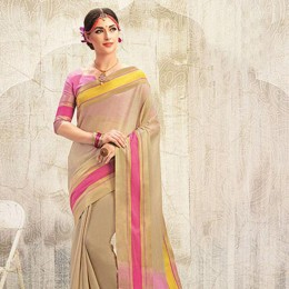 Beige Blended Cotton Art Silk Woven Festive Saree