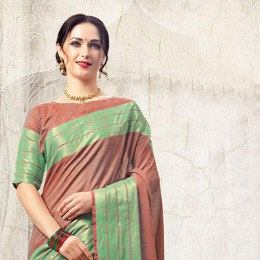 Brown Blended Cotton Art Silk Woven Festive Saree