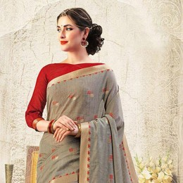 Grey Blended Cotton Art Silk Woven Festive Saree