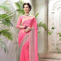 Striped Pink Faux Georgette Saree
