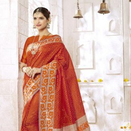 Ravishing Orange Art Silk Saree