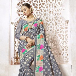Grey Art Silk Office Wear Saree