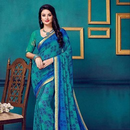 Blue Faux Georgette Traditional Printed Saree
