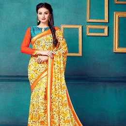Yellow Faux Georgette Floral Printed Saree
