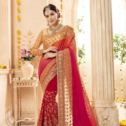 Red and Beige Embroidered Saree in Geogette