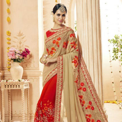 Brilliant Bridal Wear Red Embroidered Saree