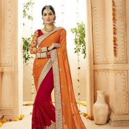 Red Satin and Faux Georgette Wedding Embroidered Saree