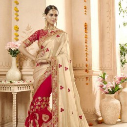 Red Net and Georgette Wedding Wear Embroidered Saree