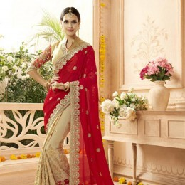 Georgette and Net Embroidered Saree