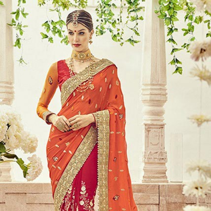 Red Faux Georgette Embroidered Bridal Saree