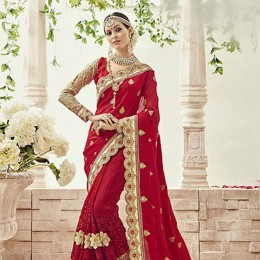 Red Georgette Net Embroidered Bridal Saree