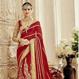Red Colored Embroidered Faux Georgette Wedding Saree