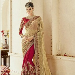 Embroidered Red Georgette Bridal Saree