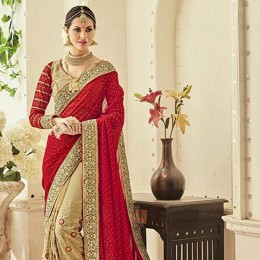 Beige Faux Georgette Embroidered Bridal Saree