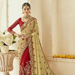 Red Georgette Embroidered Bridal Saree